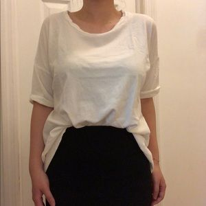 Madewell top with open back.